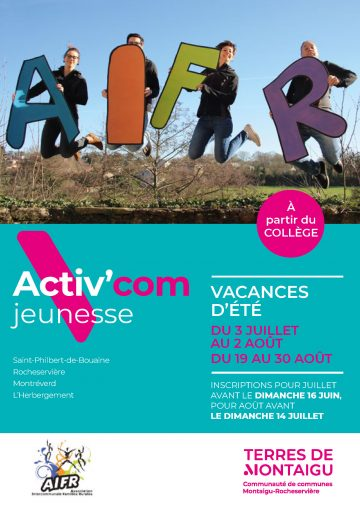 Visuel : couverture Activ'com Jeunesse - Rocheservière - Été 2019 - Terres de Montaigu