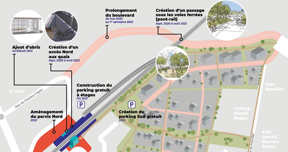 Plan : travaux du boulevard et de l'aménagement du quai nord, quartier gare.