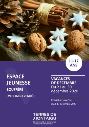 Couverture du programme des vacances de Noël 2020 Espace jeunesse Boufféré Montaigu-Vendée