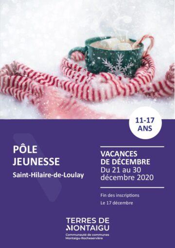 Couverture du programme des vacances de Noël 2020 Pôle jeunesse St Hilaire de Loulay Montaigu-Vendée