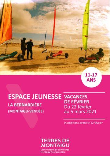 Couverture du programme des vacances de février 2021 - La Bernardière
