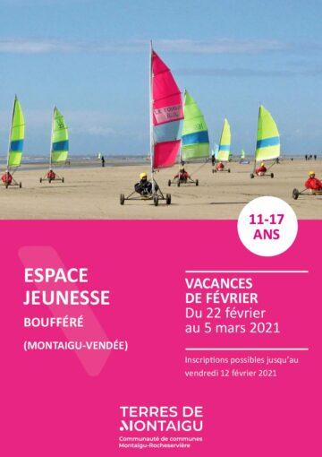 Couverture du programme des vacances de février 2021 - Espace jeunesse - Boufféré - Montaigu-Vendée