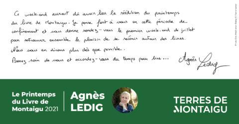 Mot d'Agnès Ledig sur le Printemps du Livre 2021
