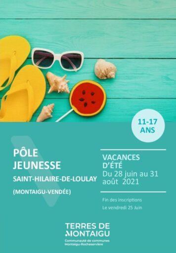 Couverture du programme des vacances d'été 2021 - Espace jeunesse - St Hilaire de Loulay - Montaigu-Vendée