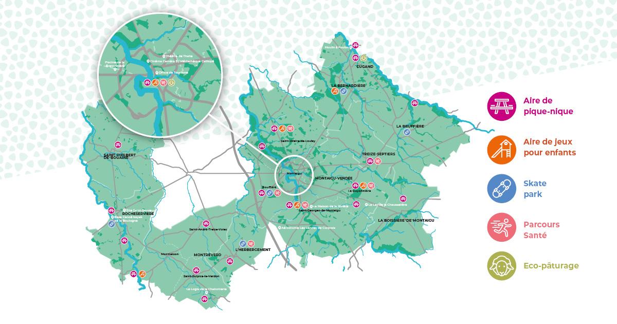Carte touristique de Terres de Montaigu