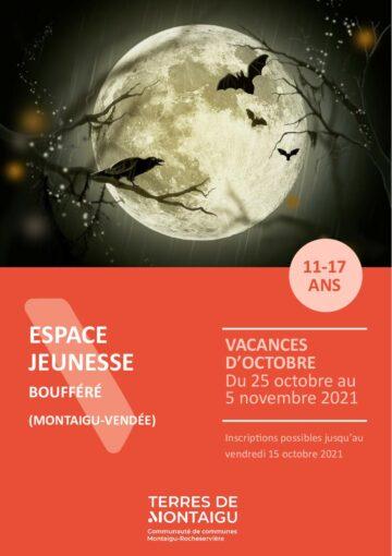 Couverture du programme des vacances d'octobre 2021 - Espace jeunesse - Boufféré - Montaigu-Vendée